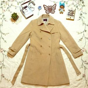 ✨GORGEOUS Tan Vintage Belted Wool Trench Coat❤️